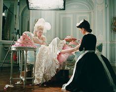 "Photo of Kirsten behind the scenes of ""Marie Antoinette"" for fans of Kirsten Dunst."