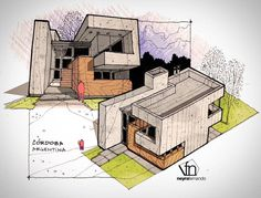 Interesting Find A Career In Architecture Ideas. Admirable Find A Career In Architecture Ideas. Architecture Concept Drawings, Architecture Sketchbook, Art And Architecture, Classical Architecture, Conceptual Sketches, Schematic Design, Building Sketch, House Sketch, Interior Sketch