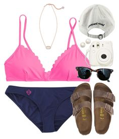 """""""ready for days @ the lake☀️⚓️"""" by rob-17 ❤ liked on Polyvore featuring J.Crew, Birkenstock, Kendra Scott, Ray-Ban, Kate Spade and Vineyard Vines"""