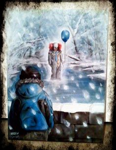 Stephen King's IT painted acrylic on canvas. Based upon the scene where Ben as a young boy, is stood on the bridge after leaving school and see's the clown walking towards him accross the frozen la...