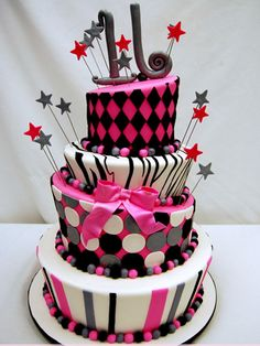 Purple with Embossed Swirls Zebra Print and Jewels Cake with