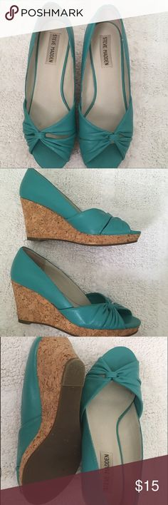 Steve Madden Cork Wedges Aqua / Turquiose and cork wedges. These are adorable and comfortable. Worn a handful of times but run a bit small so passing on! Perfect for summer! Steve Madden Shoes Wedges