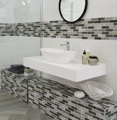 If storage isn't an issue in your bathroom, place a counter top basin on a floating shelf for a clean, minimalist look. It's also a great way to make the room look bigger. Countertops, Bathroom Basin, Floating Shelves, Home Decor, Bathroom Mirror, Round Mirror Bathroom, Bathroom Decor, Beautiful Bathrooms, Minimalist