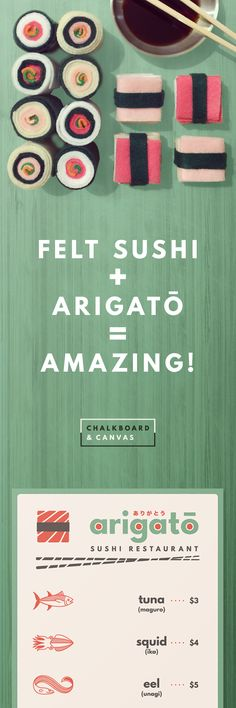 Now until August 31st, use coupon code DOMOARIGATO to save $2 when you purchase our Arigato Dramatic Play Kit. Our DIY Felt Sushi tutorial has been pinned nearly 400 times, and we wanted to say thanks! Arigato makes the perfect companion to your new felt sushi. Your students will have a blast running their own Japanese Sushi restaurant, and you'll love watching them learn how to quantify, write and recognize numbers, develop fine motor skills and read picture cues.