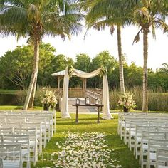 Romantic Outdoor Ceremony Decor, Hyatt Regency Coconut Point Resort and Spa in Bonita Springs, Fl