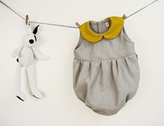 Baby girl romper in pure grey linen with yellow by robedellarobi #shootingstarsteam #kids #robedellarobi