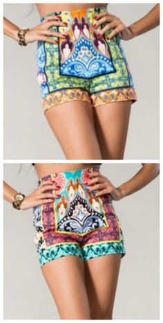 High Tides high waist shorts- Available in Blue/Green or Black/Pink $45.00