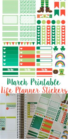 Free March Printable Erin Condren Life Planner Stickers - This file is good for Cricuts and Silhouettes!