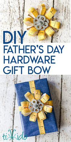 Learn how to make a gift bow perfect for Father's Day (or any builder in your life!) out of ribbon, screws, nails, washers, and other materials from the hardware store. Father Birthday Gifts, Birthday Gift Wrapping, Fathers Day Presents, Fathers Day Crafts, Gift Wrapping Bows, Dad Birthday, Creative Gift Wrapping, Wrapping Ideas, Craft Gifts