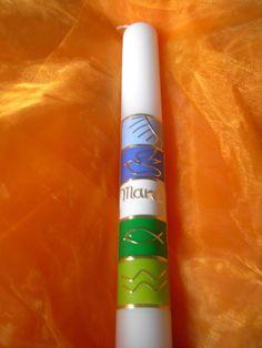 Kommunionkerzen - Kommunion - Taufkerze Taube-Fisch-Wasser - ein Designerstück von spessart-licht bei DaWanda