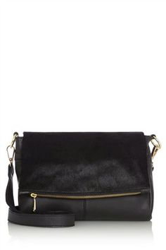 Buy Black Leather Pony Detail Fold-Over Across-The-Body Bag from the Next UK online shop