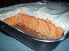 Creamsicle Cake - I prefer a three layer round cake approach rather than a single layer in a pan.