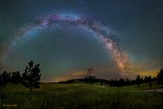 A gorgeous photograph by astrophotographer Dave Lane shows the Milky Way galaxy over Devils Tower in Wyoming.