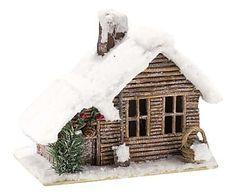 Casa miniatura, blanca y marrón - L35