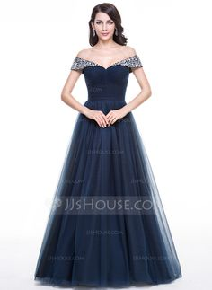 Ball-Gown Off-the-Shoulder Floor-Length Tulle Evening Dress With Ruffle Beading (017056135)