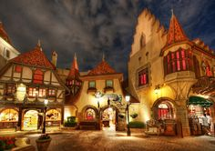 This is the German area of Epcot at DisneyWorld. I know it's always a bit disappointing when I say this, isn't it? I wish it was all real too… but, it is close-enough to real, so that's not so bad. It's like getting a pretty good milkshake or an above-average massage. No one complains about these things. - Orlando, Florida - Photo from #treyratcliff Trey Ratcliff at http://www.StuckInCustoms.com