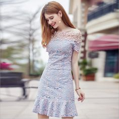 Summer new sexy word lead fishtail skirt temperament dance lace dress