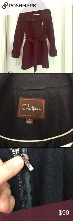 COLE HAAN wool coat Great piece !!  WOOL! very warm // charcoal color // very form fitting and flattering -- fits womens small - medium // worn a few times - perfect condition Jackets & Coats Pea Coats