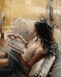 "Daily Paintworks – ""Reading a Book – Original Fine Art for Sale – © Victo… Daily Paintworks – ""Reading a Book – Vente de beaux-arts originaux – © Victor Bauer Woman Painting, Figure Painting, Images D'art, Reading Art, Galerie D'art, Art Original, Fine Art Gallery, Beautiful Paintings, Aesthetic Art"