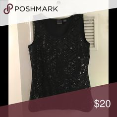 """Convington Black Chevron Sequin Tank Top In mint condition and worn once, this blingy top is great on it's own or under your favorite blazer. Sequins in a chevron design found only on the front and lay flat. Measures approximately 17"""" across the front of the bust and is approximately 24.5"""" long. Additional photos and questions answered upon request. Covington Tops Tank Tops"""
