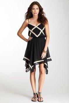Crisscross Lace Trim Silk Dress - so cute!!