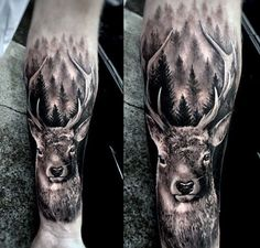 Realistic Forearm Sleeve Animal Deer Tattoo On Man Realistic Forearm Sleeve Animal Deer Tattoo On Man Deer Hunting Tattoos, Deer Skull Tattoos, Stag Tattoo, Western Tattoos, Raven Tattoo, Tattoo Ink, Hirsch Tattoo Arm, Hirsch Tattoos, Animal Sleeve Tattoo