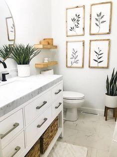 Find Your Zen: 19 Spa Bathroom Ideas Bathroom Wall Decor, Bathroom Interior Design, Diy Bathroom Ideas, Bathroom Organization, Small Bathroom Inspiration, Apartment Bathroom Decorating, Small Bathroom Decorating, Plants In Bathroom, Shiplap Bathroom
