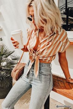 Striped Pocket Shirt - Women - 2000265841 - Forever 21 Canada English 50 Fall Outfit Ideas To Get Inspire Cute Outfits Lovely Fashion Street Style Outfits, Mode Outfits, Casual Outfits, Fashion Outfits, Womens Fashion, Fashion Tips, Fashion Trends, Casual Tie, Ladies Fashion