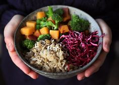 13 Healthy Buddha Bowl Meals Anyone Can Make via @PureWow  -lentils or rice -squash -broccoli  -red cabbage