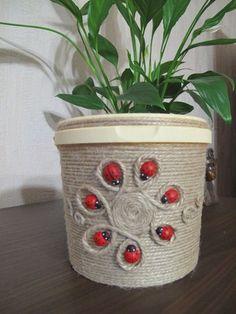 Decor art tin cans 35 Best ideas Tin Can Crafts, String Crafts, Jute Crafts, Diy Home Crafts, Homemade Crafts, Diy Arts And Crafts, Paper Crafts, Bottle Art, Bottle Crafts