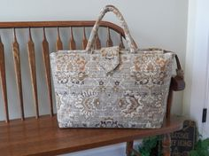 Almond Nougat Chenille Tapestry Bag #193 - My BIG BEAUTIFUL BAGS - Weekender Bag - Oversized Bag