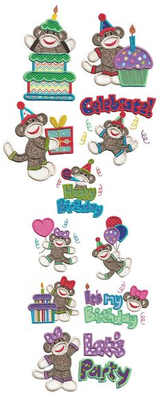 Happy Birthday Sock Monkeys Applique design set available for instant download at www.designsbyjuju.com