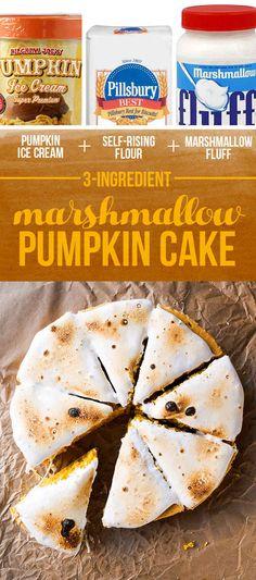 Pumpkin Ice Cream + Self-Rising Flour + Marshmallow Fluff = Marshmallow Pumpkin Cake