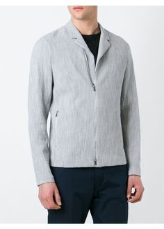 Grey cotton blend zipped textured jacket from Emporio Armani.