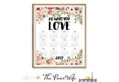 2017 Printable Calendar Printable Wall Calendar Floral 2017 Yearly Calendar 2017 Wall Art Calendar Instant Download Digital Calendar 2017