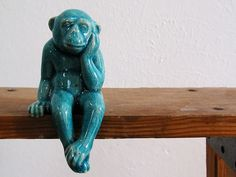 Etsy listing: Ceramic Monkey with Peking Turquoise Blue crackle glaze Sculptures, Lion Sculpture, India Ink, Monkey Business, Custom Paint, Vector Art, Screen Printing, Design Inspiration, Ceramics