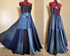 New Blue Bloom - Long Patchwork Denim Dress, Ooak bohemian gypsy dress, Flower applique, Recycled chic, Best fit sizes -  M, L, XL. $170.00, via Etsy.
