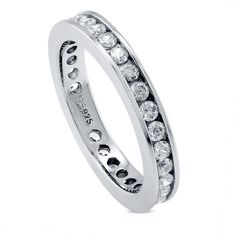 BERRICLE Sterling Silver Channel Set Round CZ Wedding Eternity Band... ($50) ❤ liked on Polyvore featuring jewelry, rings, clear, eternity ring, women's accessories, round cut rings, engagement rings, sterling silver cubic zirconia rings, wedding rings and round engagement rings