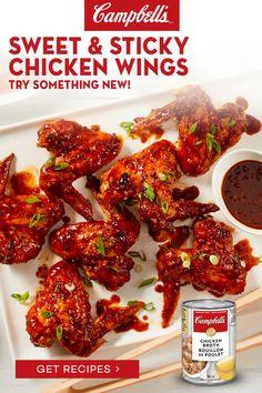 Easy Chicken Dinner Recipes, Chicken Wing Recipes, Meat Recipes, Appetizer Recipes, Cooking Recipes, Healthy Recipes, Recipies, Appetizers, Sticky Chicken Wings