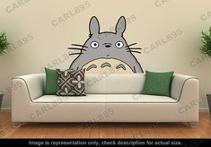 Totoro Inspired - Totoro Head Wall Art Applique Sticker on Etsy, $46.13 AUD