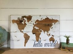 Hello world nursery decor map nursery wall art wooden map a personal favorite from my etsy shop httpsetsy map nurserynursery gumiabroncs Image collections