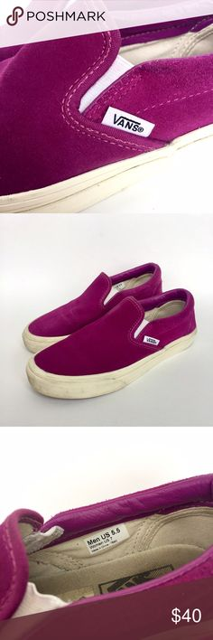 Selling this Fuchsia suede Vans slip ons. on Poshmark! My username is: natalieloretta. #shopmycloset #poshmark #fashion #shopping #style #forsale #Vans #Shoes
