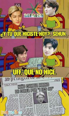EXO(엑소)_ Memes by ancillula (Unhappy Meal) with 168 reads. Exo Memes, K Meme, Hyungwon, Chanyeol, Memes Funny Faces, Kpop Exo, How To Speak Spanish, Chanbaek, Jonghyun