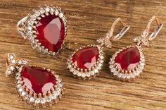 Hurrem Sultan Set Tear Drop Shape Ruby Color Ottoman Silver Jewellery 925