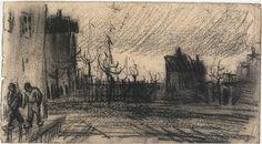 Vincent van Gogh Vista ciudad Drawing
