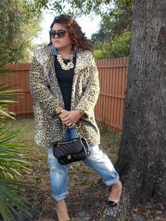 Leopard fur and cap toe