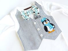 Adorable Penguin Long or Short Sleeve Tuxedo Bodysuit Vest with Baby Initials and Matching Bow Tie on Etsy, $38.00