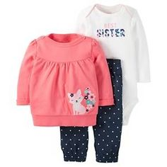 Just One You™Made by Carter's® Baby Girls' 3 Piece Fox Top/Dot Legging Set - Pink/Chambray : Target