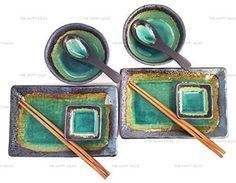 Happy Sales 10 PC Japanese Sushi Plate Dinnerware set Turquoise Kosui Green #HappySales