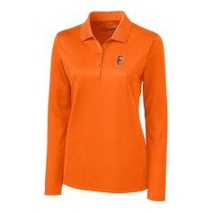 Fresno Grizzlies Cutter   Buck Women s Ice Pique Long Sleeve Polo – Orange 25a41e112